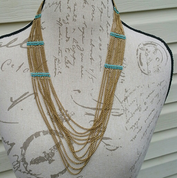 Forever 21 Jewelry Nwt Faux Gold And Turquoise Color Layered